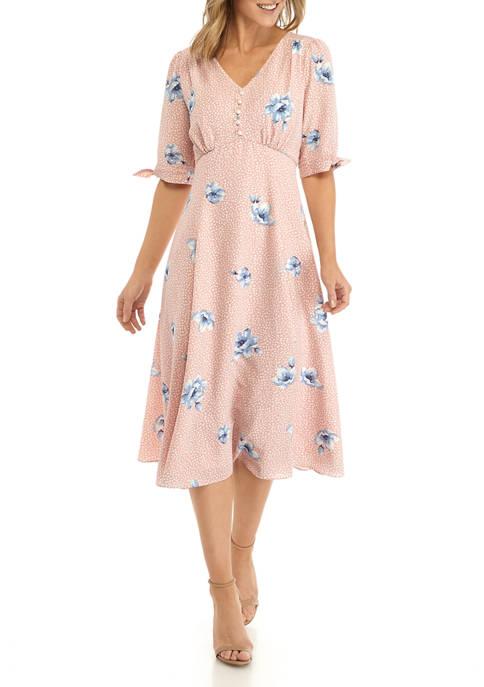 Womens V-Neck Tie Sleeve Floral Midi Dress