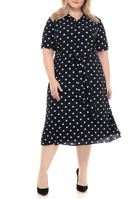Plus Size Elbow Sleeve Dot Tie Shirt Dress