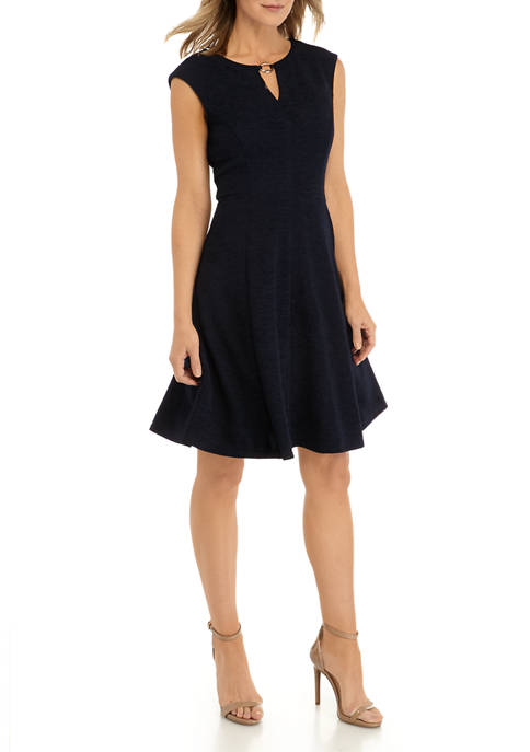 Womens Ottoman Hardware Fit and Flare Dress