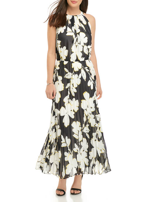 Womens Halter Floral Pleated Maxi Dress