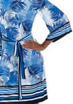Womens 3/4 Sleeve Tropical Leaf Party Dress