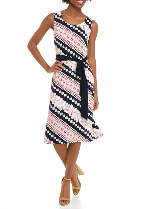 Womens Sleeveless Biadere Print Belted Dress
