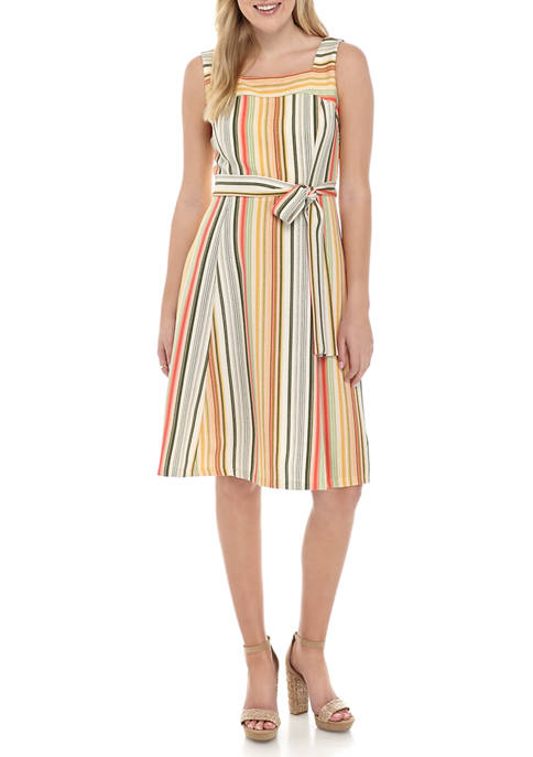 Womens Sleeveless Square Neck Stripes Fit and Flare Dress