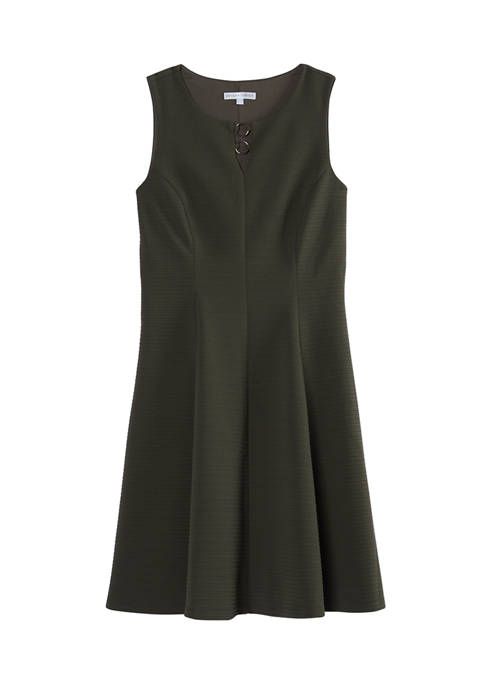 Womens Texture Flat Front Dress