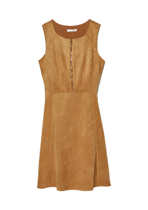Womens Sleeveless Zip Front Fit and Flare Dress