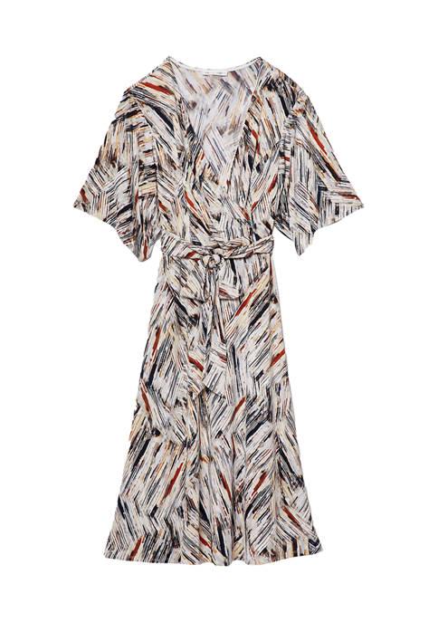 Womens Brushstroke Print Dress