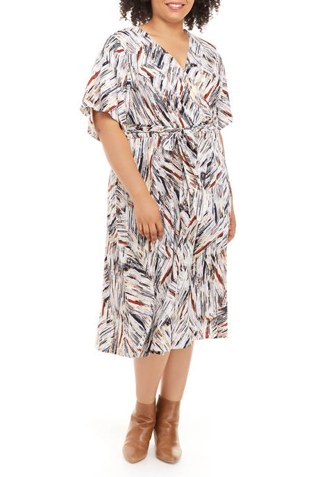 Sandra Darren Plus Size Brush Stroke Print Surplice