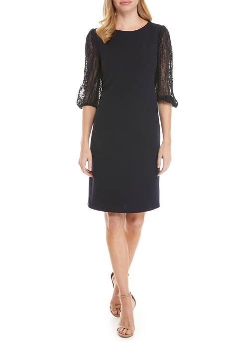 Womens 3/4 Lace Sleeve Shift Dress