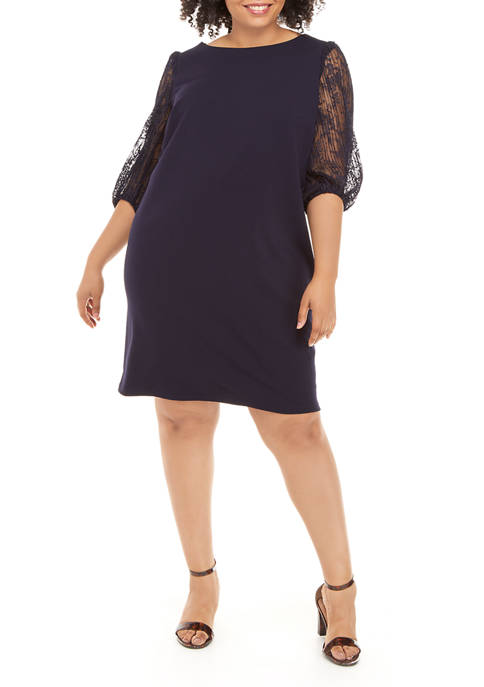 Sandra Darren Plus Size Lace Blouson Sleeve Dress