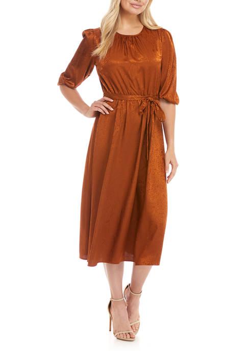 Womens 3/4 Sleeve Snake Jacquard Midi Dress