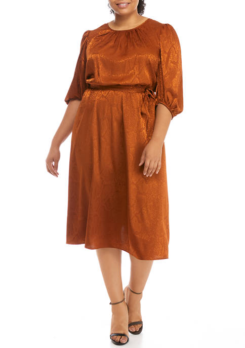 Plus Size 3/4 Blouson Sleeve Dress