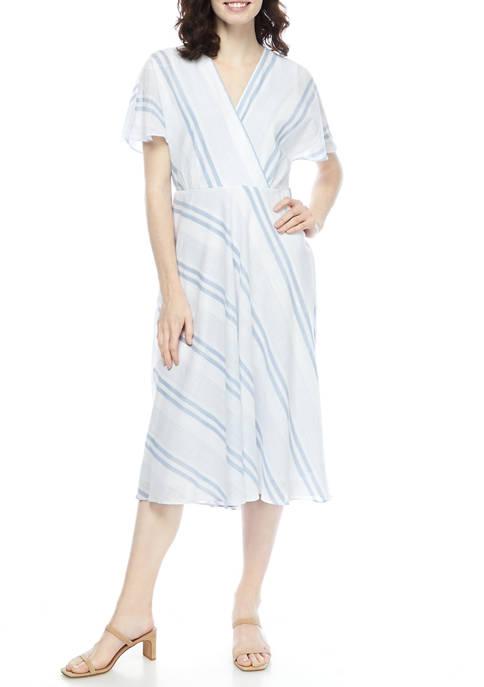 Womens White Blue Stripe Linen Dress