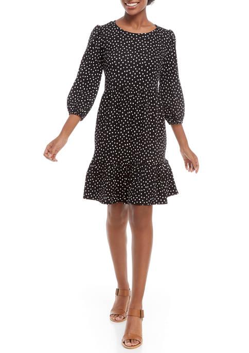 Sandra Darren Womens 3/4 Flare Sleeve Dot Babydoll