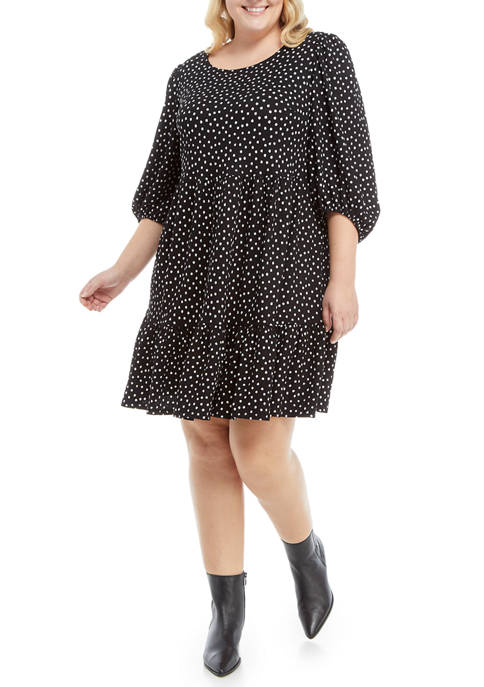 Sandra Darren Plus Size 3/4 Sleeve Dot Babydoll