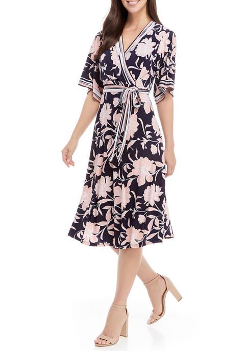 Womens Stripe Trim Floral Wrap Dress