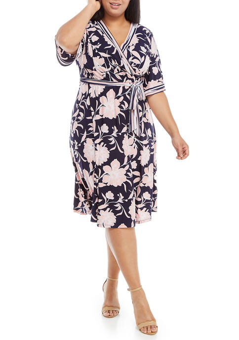 Plus Size Stripe Trim Floral Wrap Dress