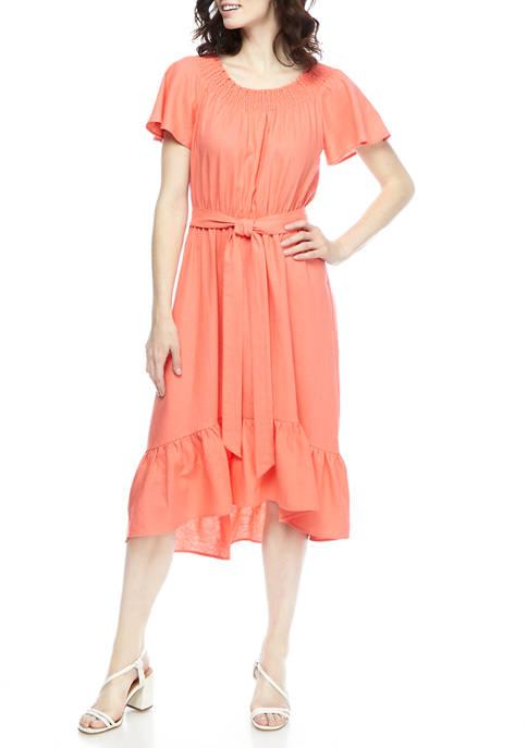 Womens Coral Flutter  Sleeve Tie Waist Flounce Hem Midi Dress