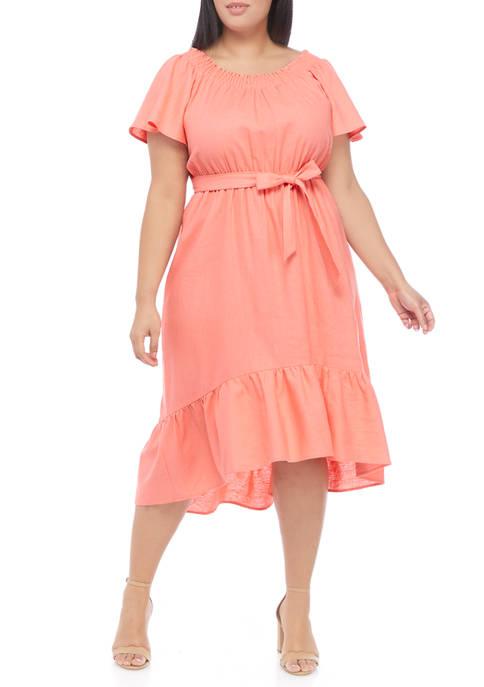 Plus Size Short Sleeve Tie Waist Flounce Hem Midi Dress