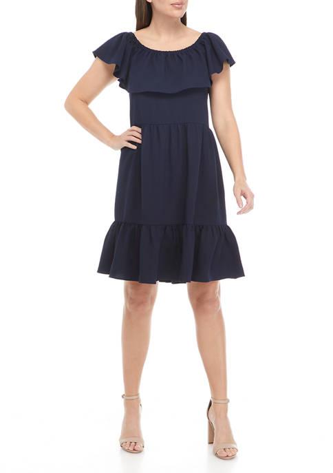 Womens Off the Shoulder Flounce Hem Clip Dot Dress