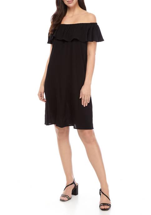 Womens Off the Shoulder Flutter Sleeve A Line Dress