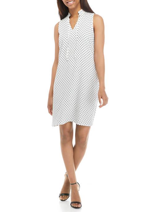 Womens Sleeveless Split Neck Collared Dot Print A Line Dress