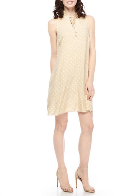 Womens Sleeveless Polka Dot A Line Linen Dress