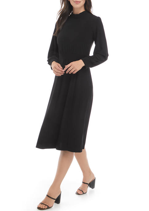 Sandra Darren Womens Long Sleeve Mock Neck Waist
