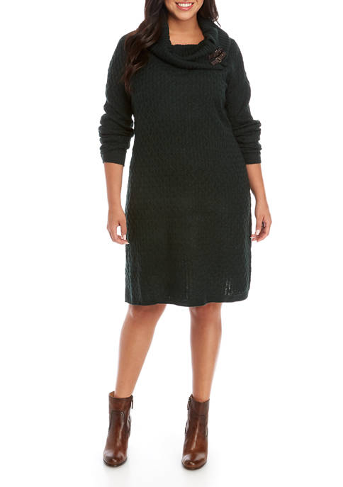 Sandra Darren Plus Size Turtleneck Sweater Dress