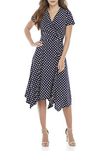 Perceptions Midi Side Knot V-Neck Dot Dress