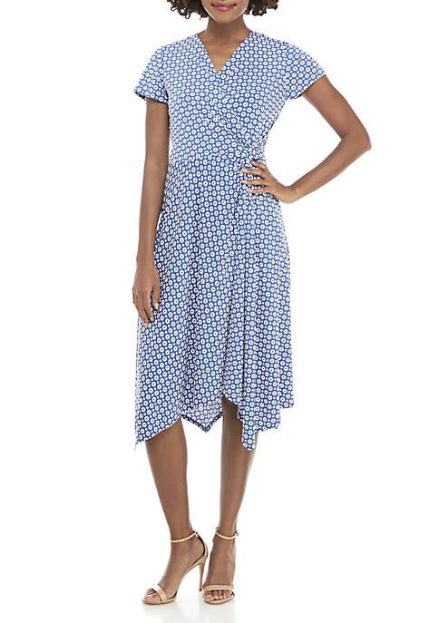Perceptions Midi Side Knot V-Neck Puff Print Dress