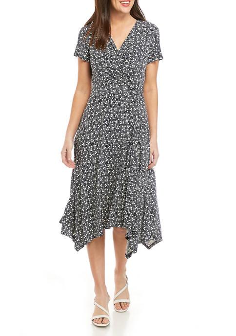 Perceptions Womens Short Sleeve Surplice Dot Dress