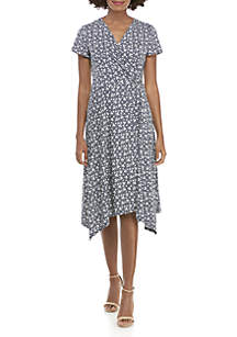 Perceptions Midi Side Knot V-Neck Puff Print Dress