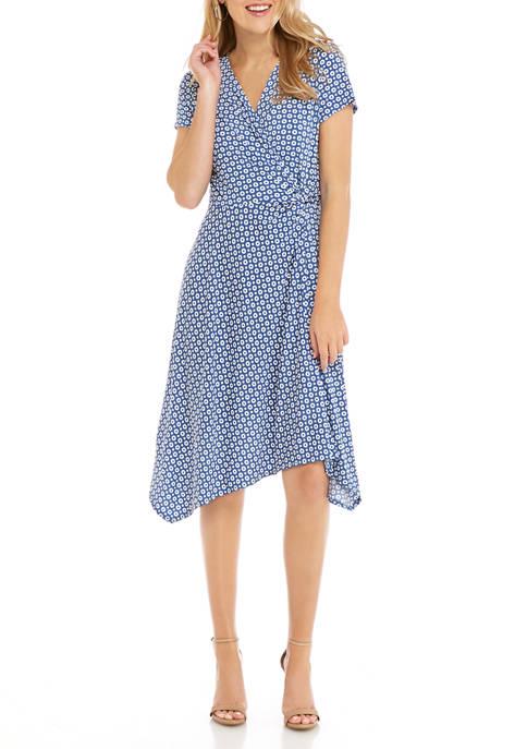 Perceptions Womens Puff Print Surplice Asymmetrical Dress