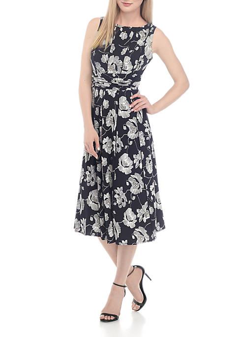 Perceptions Sleeveless Floral A-Line Dress