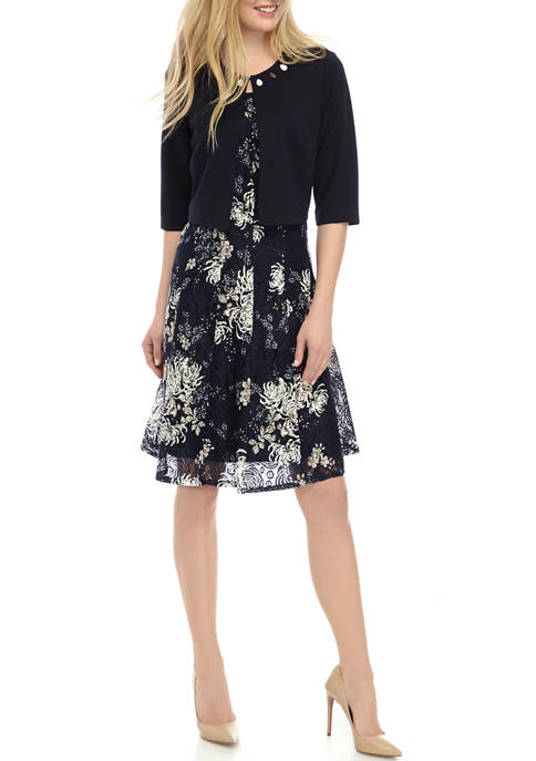 Womens Embroidered Jacket with Printed Lace Fit and Flare Dress