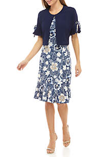 Perceptions 2 Piece Ruffle Sleeve Jacket and Dress Set