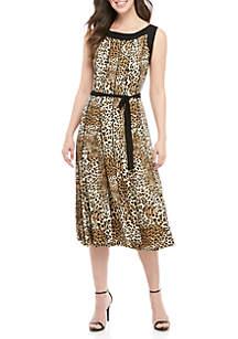 Perceptions Sleeveless Animal Midi Dress