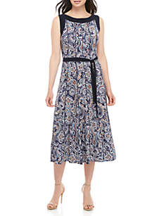 Perceptions Sleeveless Paisley Midi Dress