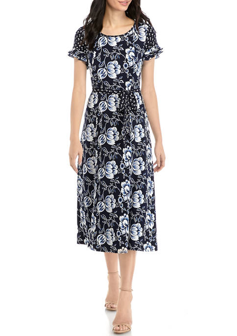 Womens Ruffle Sleeve Floral Print Dress