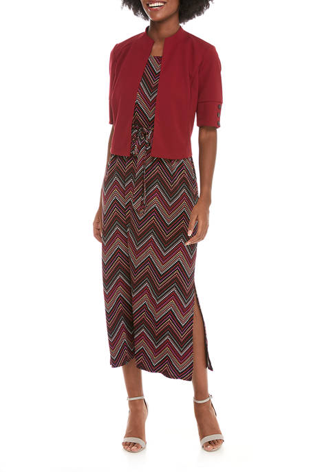Perceptions Womens Solid Jacket Chevron Dress
