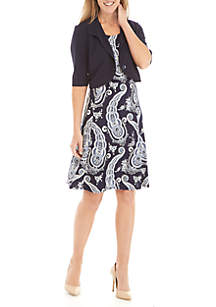 Perceptions Solid Jacket Paisley Dress