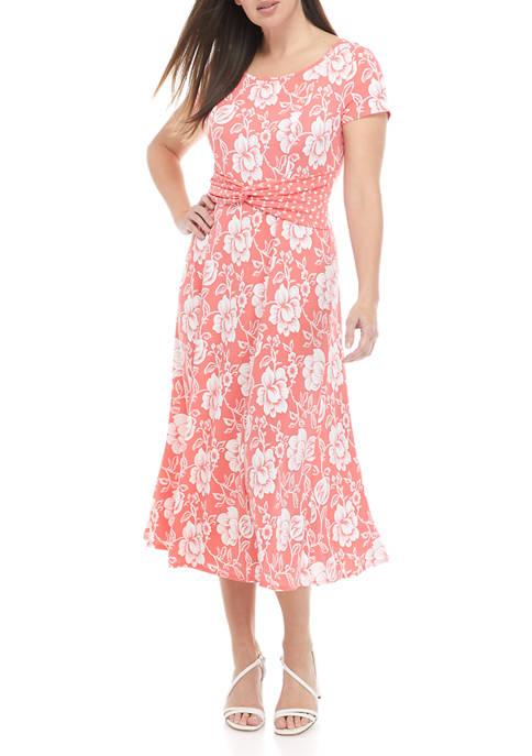Perceptions Womens Short Sleeve Floral Twin Print Twist