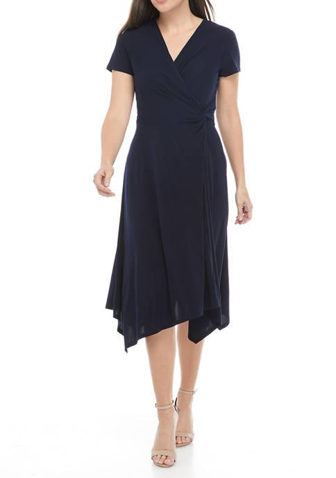 Perceptions Womens Cap Sleeve Asymmetrical Hem Midi Dress