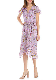 Perceptions Short Sleeve Chiffon Faux Wrap Dress