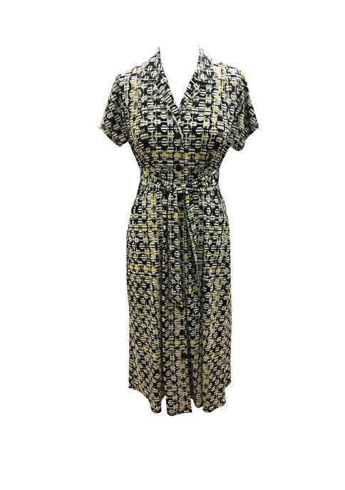 Womens Tie Front Geometric Circle Shirt Dress