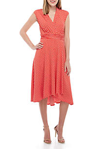 Perceptions Ruched Waist Dot Dress