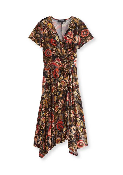 Womens Short Sleeve Floral Twist Midi Dress