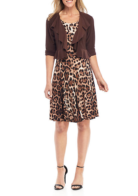 Perceptions 2 Piece Animal Print Dress and Jacket