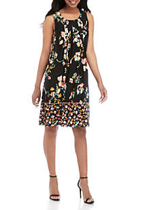 Perceptions Sleeveless Pleated Front Floral Dress