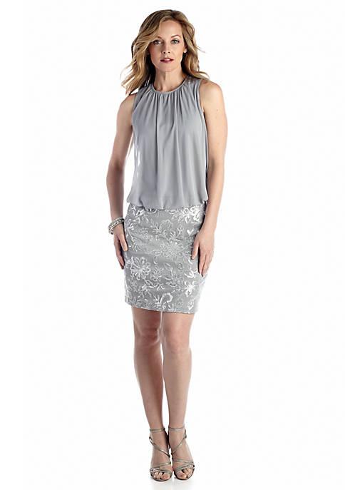 Perceptions Blouson Cocktail Dress with Sequin   belk